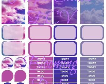 Purple Clouds ECV printable planner stickers