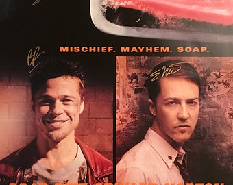 Fight club signed movie poster