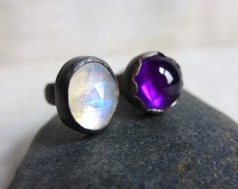 Rainbow Moonstone Amethyst Ring, Oxidized Moonstone Purple Amethyst Sterling Silver Ring, Multistone Gemstone Ring, Artisan Gemstone Ring