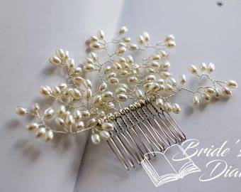 Wedding hair jewelry, hair comb with pearls, pearls bridal comb silver