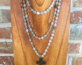 "The ""Grace"" 56"" hand knotted blue fire agate beaded necklace with hammered copper cross"