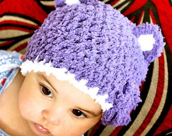 12 to 24m Baby Bear Hat Set, Baby Hat and Mittens Set, Purple Toddler Hat, Purple Bear Beanie, Bear Baby Girl Hat, Toddler Bear Hat