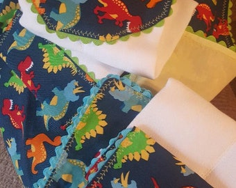 Colorful Dinosaurs Receiving Blanket and Matching Burp Cloth