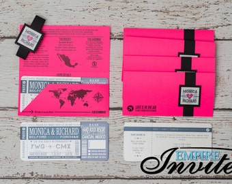 Boarding Pass Invitations - Custom Destination Wedding Invites | Handmade in Canada by www.empireinvites.ca