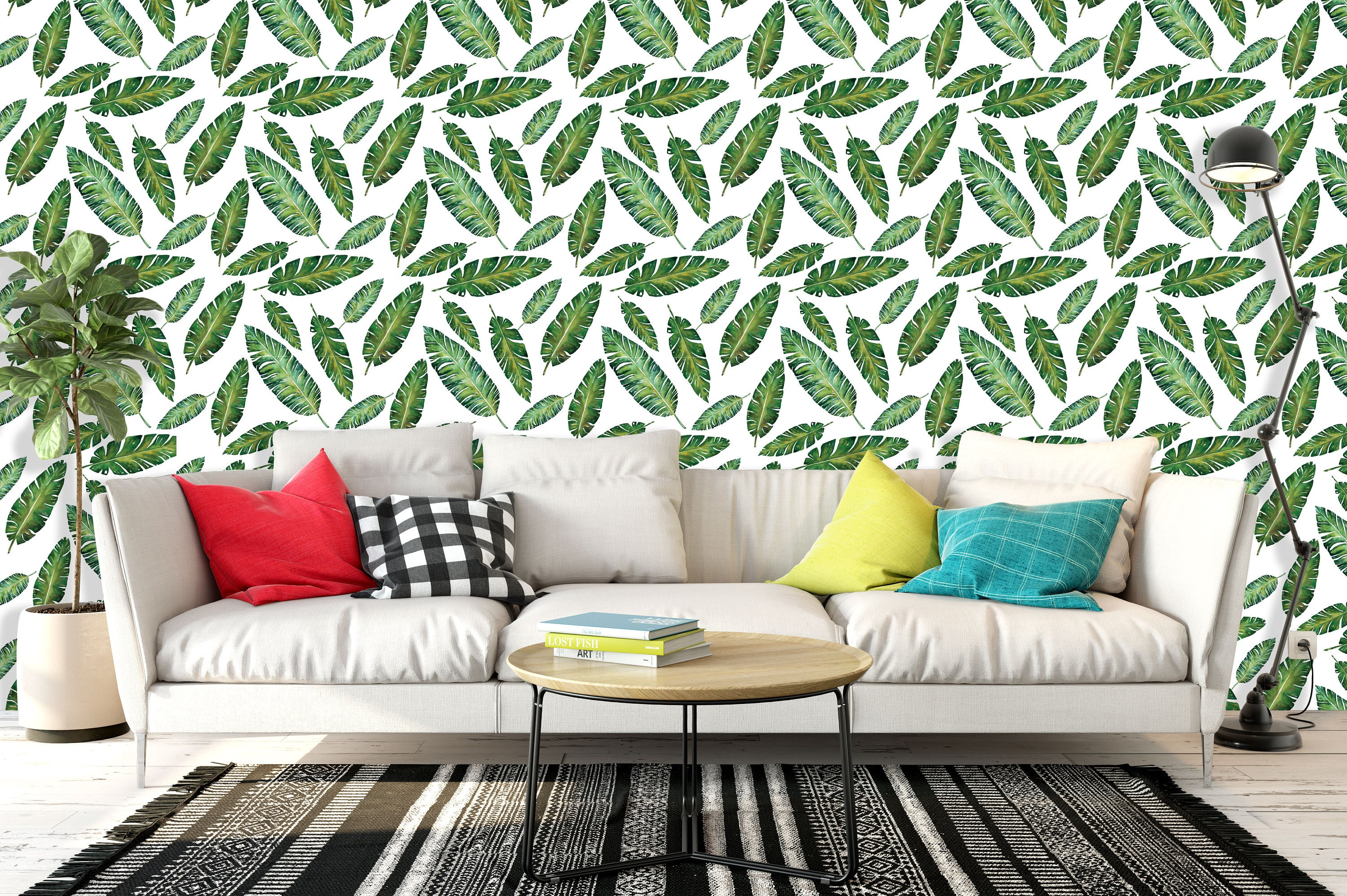 papier peint autocollant repositionnable tropical leaves. Black Bedroom Furniture Sets. Home Design Ideas