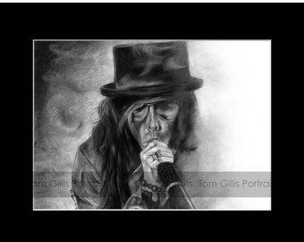 portrait drawing of Steven Tyler (matted print)