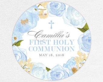 First Communion Favor Labels, First Communion Stickers, Printed Communion Tag, First Holy Communion Favor Tag, Girl Communion Labels, Blue