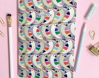 Notebook / A5 bird print Notebook / Printed notebook / Gift for her