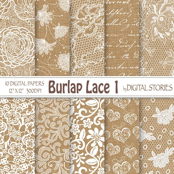 Burlap Lace Wedding Digital Paper BURLAP LACE 1 White Vintage Textured For Scrapbooking Invites From DigitalStories On Etsy Studio