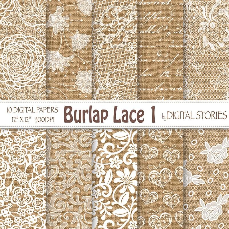 Burlap Lace Wedding digital paper: BURLAP LACE 1
