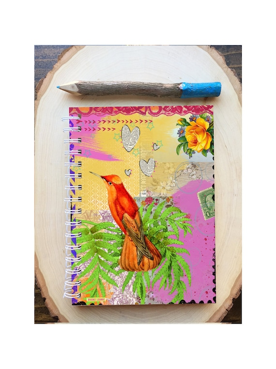 Bird Spiral Bound Notebook - Orange Bird Journal - Bird Notebook -  Hard Notebook - Spiral Journal - Back to School - Gift - Diary