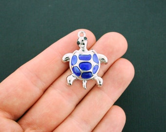 2 Turtle Charms Silver Plated Enamel Fun and Colorful - E239
