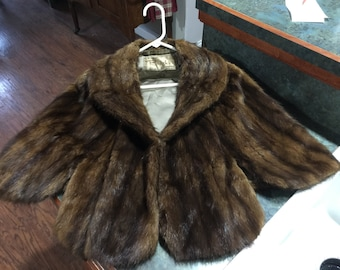 Vintage Mink Coat Collared Cape from Block's Department Store Indianapolis, Indiana