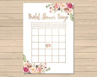 Rose Gold Boho Bridal Shower Bingo Game, Printable Floral Bingo Activity, Boho Floral Bridal Shower Bingo Cards, Instant Download, 110-RG