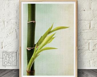 Bamboo print, Printable zen art, Spa decor, Bamboo wall art, Green leaves, Zen, Livingroom decor, Spa and wellness art #033