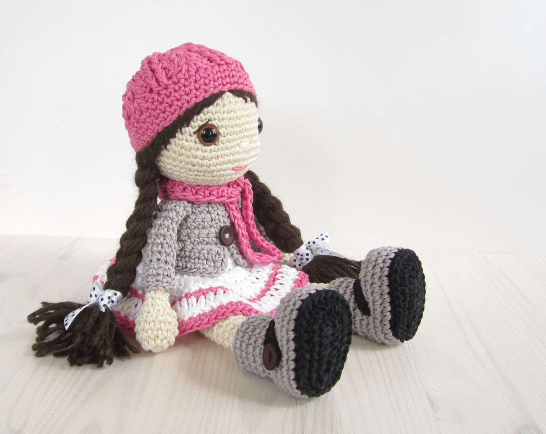 Amigurumi Doll Patterns : Pattern doll girl in a dress jacket boots and hat amigurumi