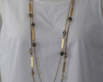 Long Necklace, Gold and crystal beads necklace, Gift for her, everyday use, charm necklace, Set of 2 necklaces, Birthday Gift