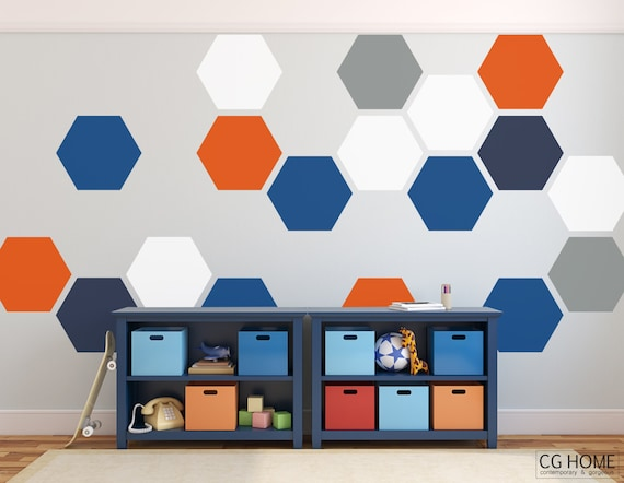 Honeycomb Wall Decals Hexagon Baby Room Decals Playroom Wall Sticker Baby Boy Pattern Geometric Nursery Rainbow colors Decor