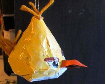 Angry Avians Yellow Bird Ornament, Paper Mache Yellow Wood-breaking Bird with Yarn Hair