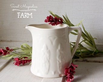 Vintage White Milk Pitcher ~ Shabby Farmhouse Country Chic Decor