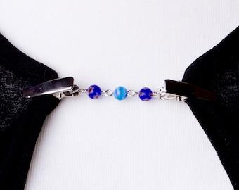 Blue Cardigan clip chain - Floral Millefiori bead sweater clip | Shawl chain, Pashmina pin, Sweater guard, Wrap holder, Cardigan fastener