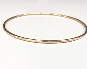 14K Gold Bangle - SOLID Gold - 14 Gauge / 1.63mm Thick Full Round Wire Smooth or Hammered 14K Solid Gold Bangle Heirloom Quality Marked 14K
