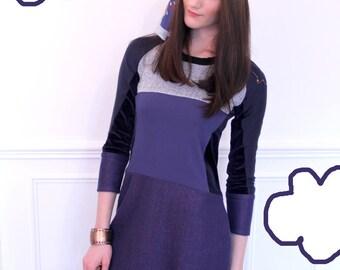 Dress long sleeve wool cuts. Navy Blue and purple