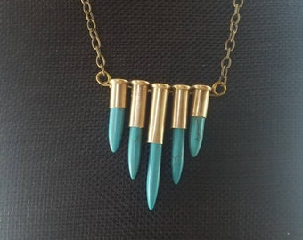 Bullets and Howlite spikes necklace. Antiqued brass chain
