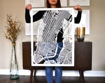 nyc hand cut map, 22x30