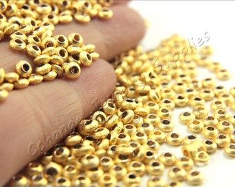 50 pcs Tiny Gold Spacer Beads, Mini Gold Spacer Beads, Tiny Gold Plated Spacer Beads, Spacer Bead Findings, Gold Bead Spacers / GPY-013
