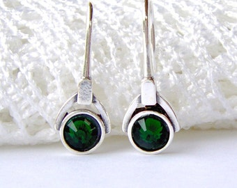 Sterling silver emerald rhinestone earrings / french hook / art deco style / May birthstone / green / gift for her