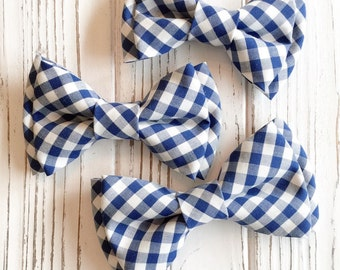 Blue gingham bowtie - Daddy and son - Family look - gingham bow ties - blue plaid bowtie - blue white checkered bowtie