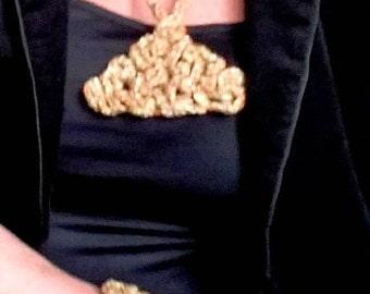 Crochet necklace, Freeform crochet,Rave, Charm necklace, Big locket, Pet locket, Large heard locker, Pendants - silver/orange color blend