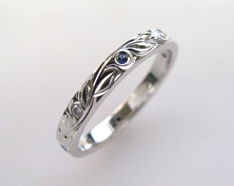 Sapphire and Diamond Hand Engraved Wedding or Anniversary Band with Vine and Leaf Hand Engraving