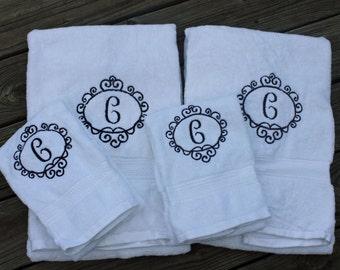 Bath Towel/ Hand Towel Monogrammed- monogrammed towels, bathroom towels, bath towels, guest towels, monogrammed bath towels
