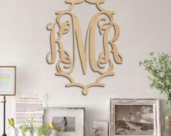Pagoda Monogram - Monogram Wall Hanging - Monogram Door Hanger - Wedding Monogram - Nursery Monogram - Wooden Initials *