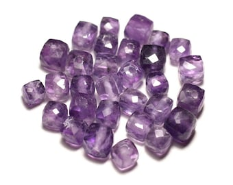 Stone - Amethyst faceted Cube 5-7mm - 8741140020122 bead 1pc-