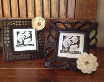 Burlap Flower Photo Frame, Rustic Frame, Country Picture Frame, Photo Frame, Picture Frame, Flower Picture Frame