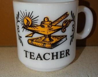 Teacher Mug, Milk Glass Coffee Mug, Teacher Award Glass Mug. Mug, Coffee Mug. Hot Cocoa Mug