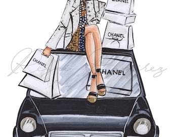 Fashion illustration, fashion wall art, fashion poster, fashion sketch, Chanel girl, Chanel addicted, fashion print, fashion art , chic girl