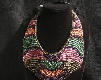Beaded bib neckpiece