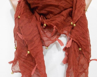 Valentines Gift For Her Tassel Cowl Scarf Shawl Cinnamon Brown Scarf with Golden Beads  Bohemian  Fashion Accessories Boho Scarf Gypsy Scarf