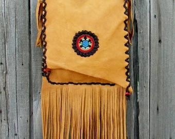 Leather bag with fringe , Crossbody handbag , Rainbow turtle purse , Large leather handbag , Turtle totem bag , by Thunderrose