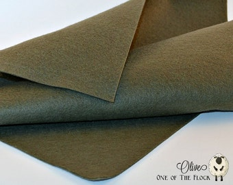 Olive Wool Felt, Merino Wool Blend Felt, Wool Blend Felt, Wool Felt Yardage, Wool Felt Fabric, Green Felt Fabric, Green Felt Yardage