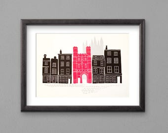 Canterbury print. Original lino print. Limited edition. Hand pulled A4 lino print of Canterbury. Red and black print. Canterbury Cathedral