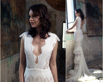 Vintage Wedding Dress,  Bridal Gown, Elegant Wedding Dress, sleeveless wedding dress, V Neck Wedding Dress, crochet wedding dress