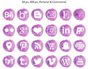Water Color Social Media Icons, Violet, Purple, Watercolor Graphics
