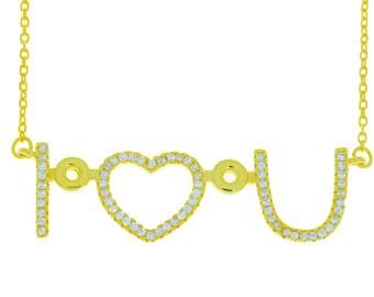 14Kt Yellow Gold Plated I Heart U Design CZ Pendant