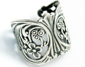 Sturdy Filigree Ring Blank with Art Nouveau Styling, Adjustable Ring with Antique Silver Finish, Made in USA, #TB110