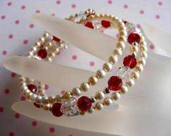 Ruby Red Crystals and Cream Pearls Memory Wire Bracelet